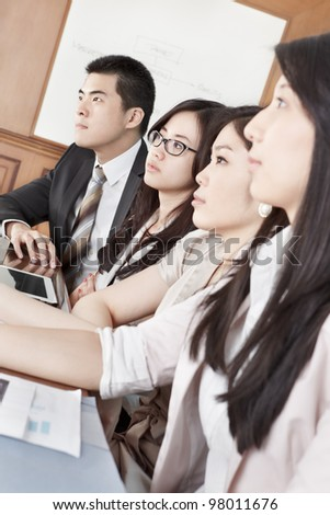 Group of Asian business people listening in a meeting season - stock photo