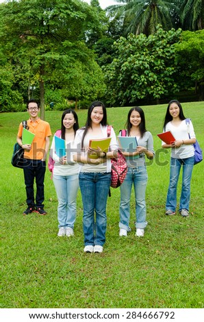 Group of asian college students - stock photo