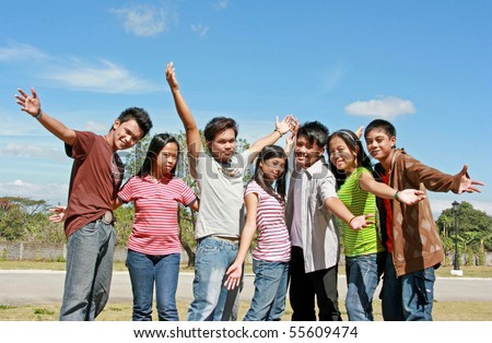 Group of Asian Teenagers - stock photo