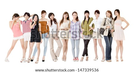 Group of Asian women, isolated on white background.