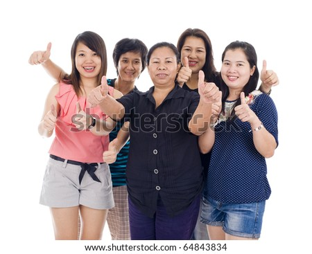group of asian women with thumbs up, isolated on white background