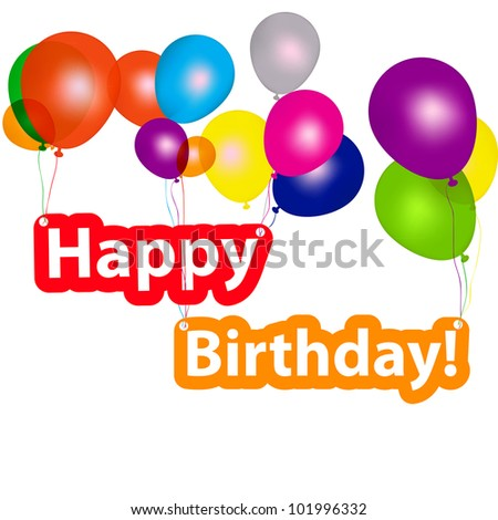 group of balloons with the words happy birthday.  illustration - stock photo