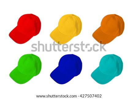 Group of baseball cap isolated on white background - stock photo