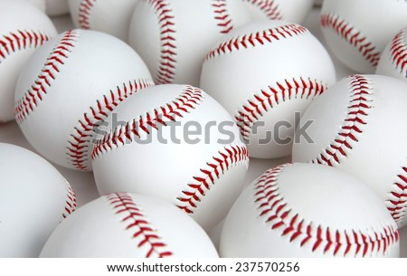 Group of Baseballs with no logos on white background - stock photo