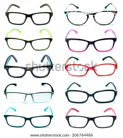 Group of Beautiful glasses isolated on white background - stock photo
