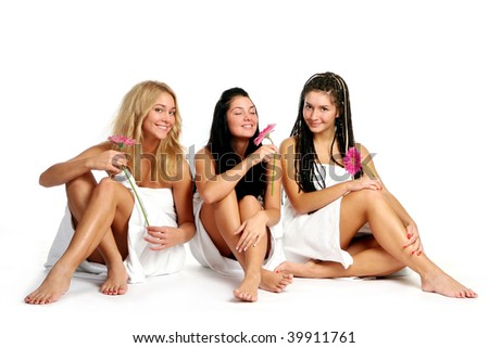 group of beautiful young womans - stock photo