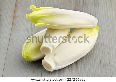group of belgian endives on wooden table - stock photo