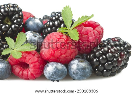 Group of berries close up on white background - stock photo