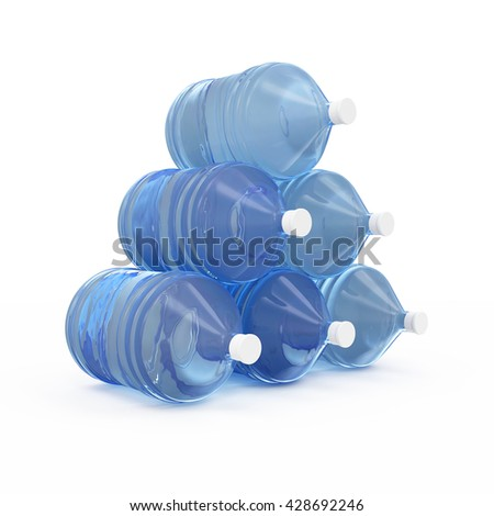 Group of Big Bottles with Water isolated on white background. 3D Rendering - stock photo