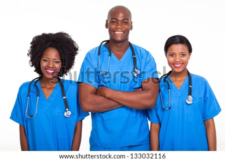 group of black doctors and nurses isolated on white - stock photo