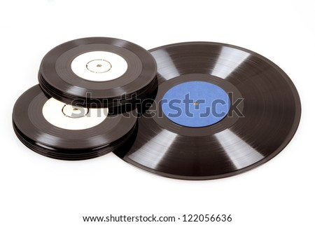 group of black vinyl records isolated on white - stock photo