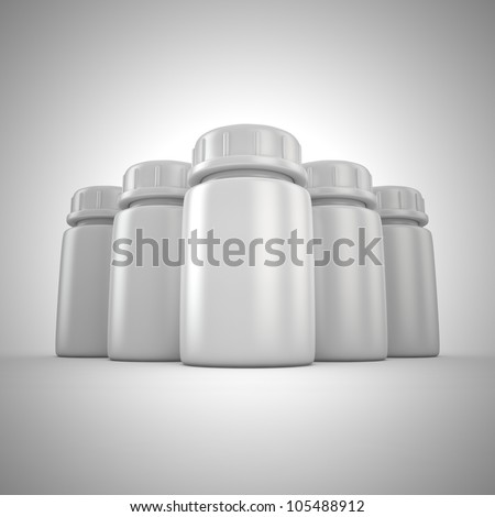 Group of blank pill bottles - stock photo