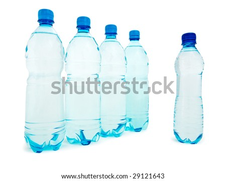 group of blue bottle isolated