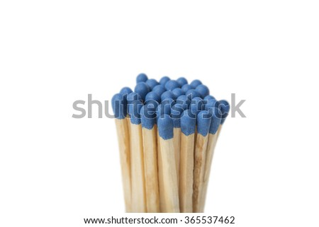Group of blue matches isolated on white background - stock photo