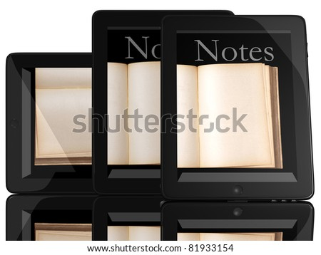 Group of Books and teblet computer 3D model isolated on white, digital library concept - stock photo