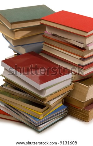 Group of books for school on white backgrounds