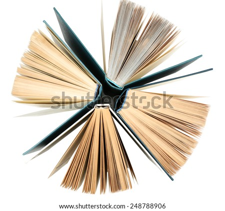 Group of books on white background, top view - stock photo