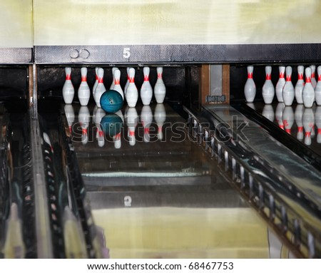 Group of  bowling skittles and  ball. Still life. - stock photo