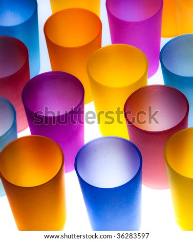 Group of brightly colored plastic cups