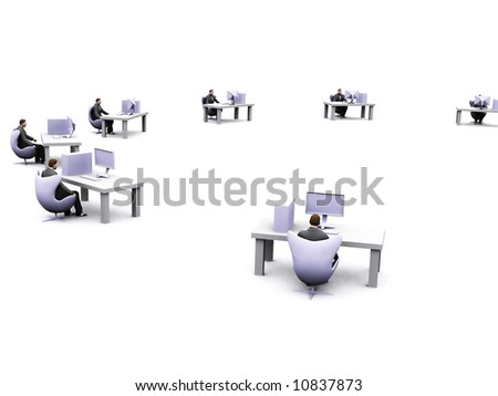 group of business man working in their desk