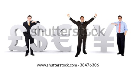 Group of business men with world currencies isolated - stock photo