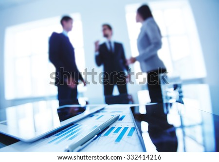 Group of business objects at workplace - stock photo