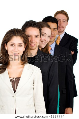 group of business people - all young and successful businessmen and businesswomen isolated over a white background - stock photo