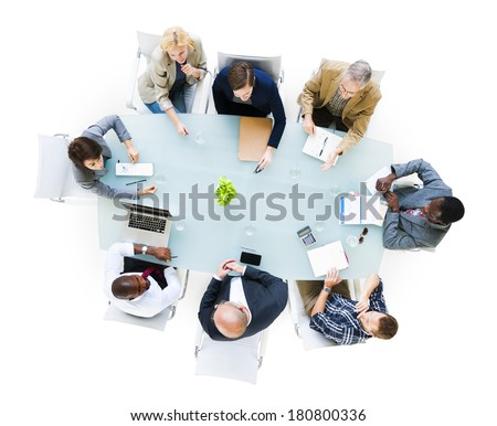 Group Of  Business People Around The Conference Table Having A Meeting - stock photo