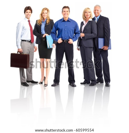 Group of business people. Business team. Isolated over white background
