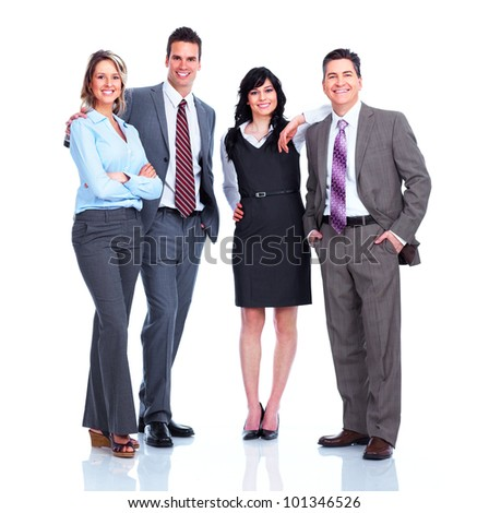 Group of business people. Businessman. Isolated on white background. - stock photo