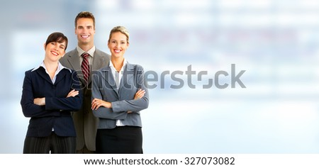 Group of business people. Businessman over blue office background. - stock photo