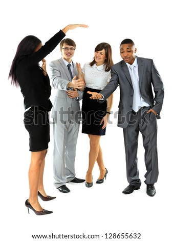 Group of business people discussed about something. Businessman. Isolated on white background. - stock photo