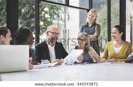 Group of Business People Discussing Office Concept - stock photo