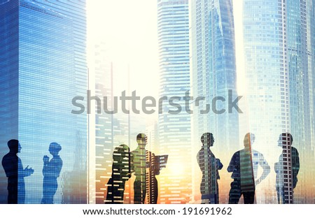 Group of Business People Discussing Outdoors - stock photo