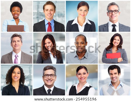 Group of business people face team collage.  - stock photo