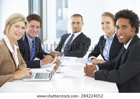 Group Of Business People Having Meeting In Office - stock photo