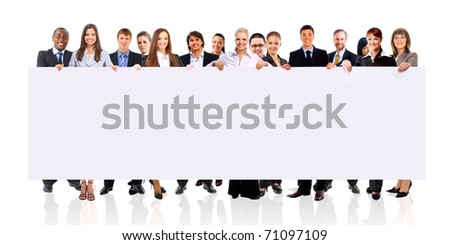 group of business people holding a banner ad isolated on white - stock photo