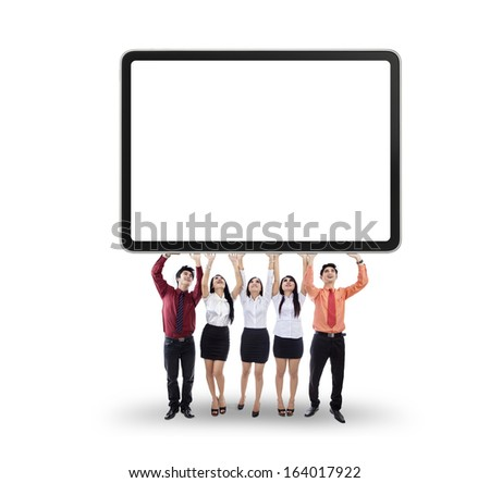 Group of business people holding a banner isolated on white background - stock photo
