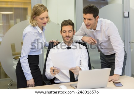 Group of business people in a meeting at office, working new project