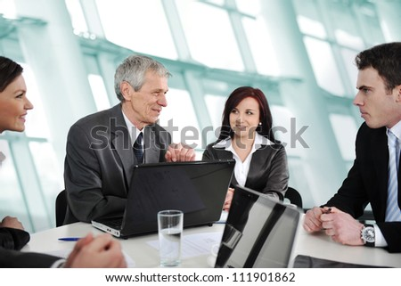 Group of business people in office having consulting - stock photo