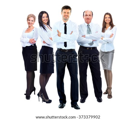 group of business people in white shirts - stock photo