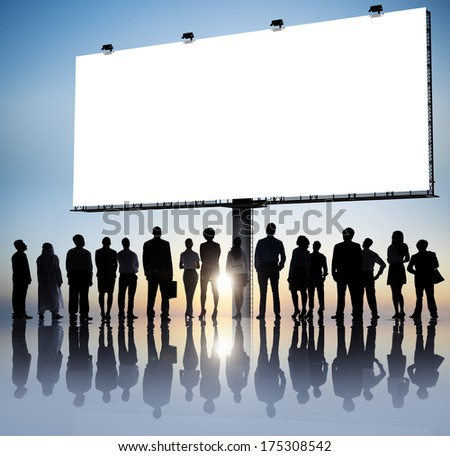 Group of Business People Looking at Billboard