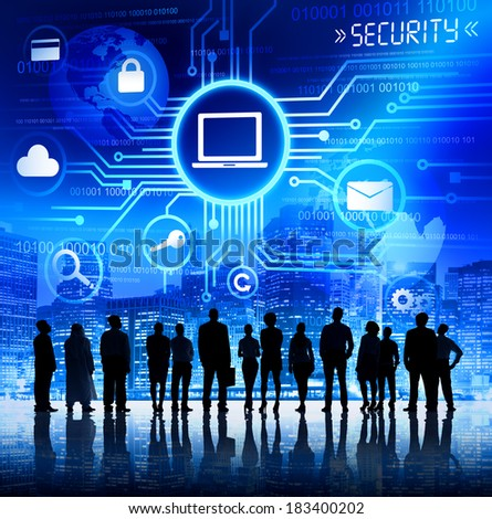 Group of Business People Looking at Computer Security Illustration - stock photo