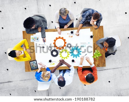 Group of Business People Meeting About Teamwork - stock photo