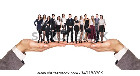 Group of business people over white background stand on hands - stock photo