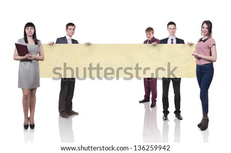 Group of business people presenting something. Isolated on white. - stock photo