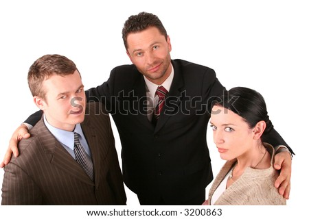 Group of 3 business people - promotion - isolated