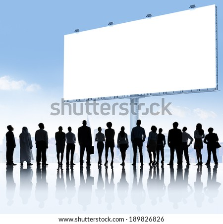 Group of Business People Reading Placard