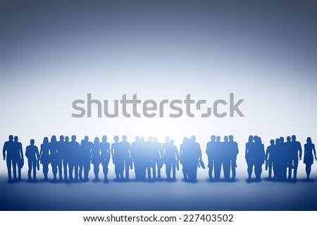 Group of business people silhouettes looking towards light. Concept of new idea, teamwork, corporation, future etc. - stock photo