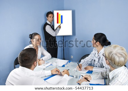 Group of business people sitting around a table at office and having a meeting discussion while a young businessman make a presentation on a chart - stock photo